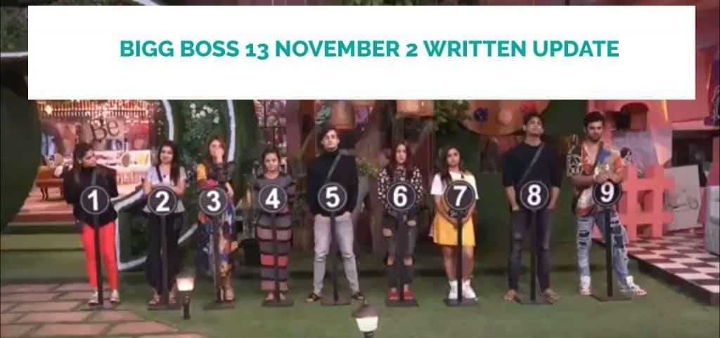 bigg boss 13 november 2 written update