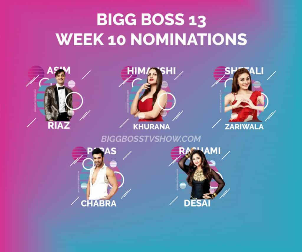 bigg boss 13 week 10 nominations