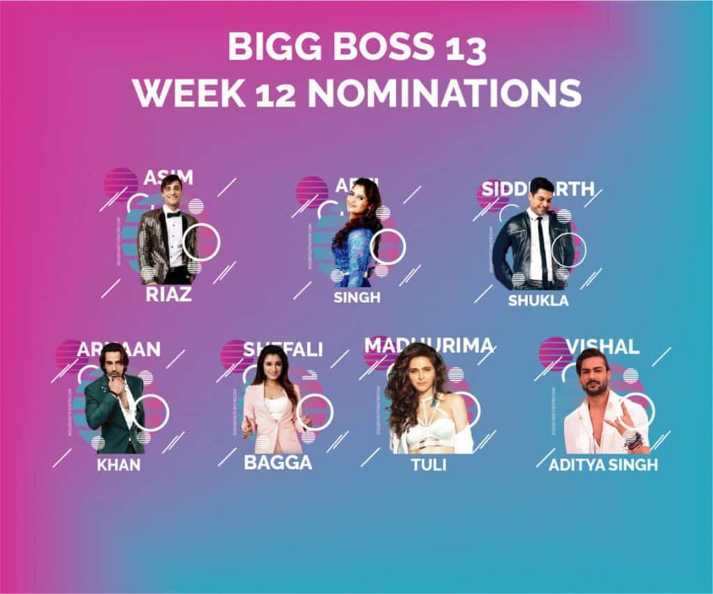 bigg boss 13 week 12 nominations