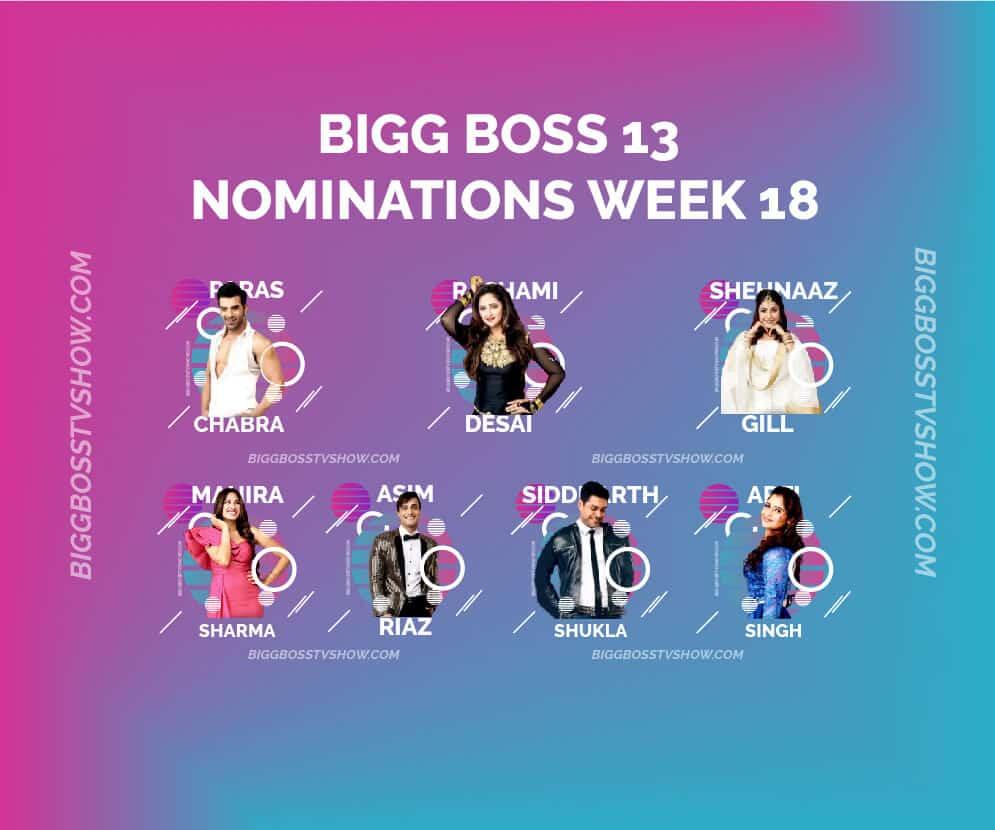 BIGG BOSS 13 NOMINATIONS WEEK 18
