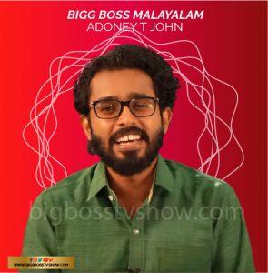 bigg boss malayalam 3 contestant Adoney T John